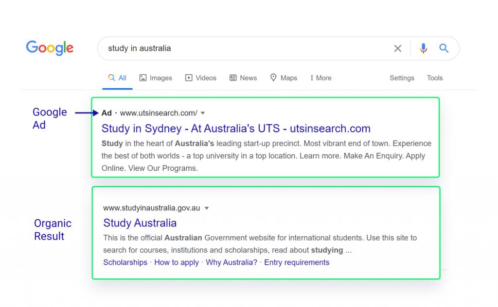 Google ad vs organic result
