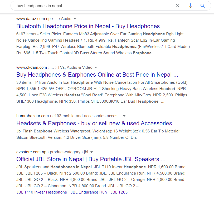 The result page for the transactional search query buy headphones in neppal